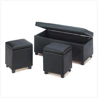 Multi purpose bench, ottoman, TRUNK & STOOLS storage, coffee table