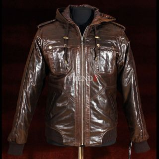 Urban Brown Mens Hooded Hoody Winter Bomber Real Soft Sheep Leather