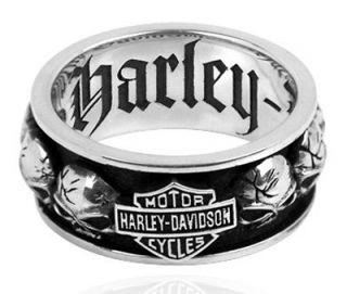 HARLEY DAVIDSON STERLING SILVER MENS Spinning Skull RING (10)