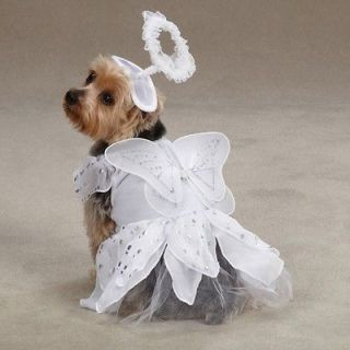 Canine Angel Paws Halloween Dog Costume White with Wings and Halo