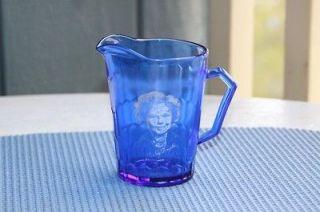 Vintage Original Hazel Atlas Shirley Temple Blue Glass Creamer Pitcher