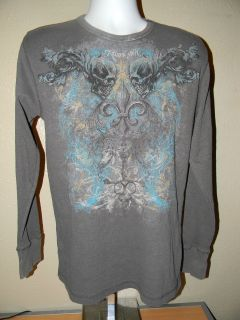 Miami Ink Mens Gray Graphic Thermal Long Sleeve Shirt sz XXL