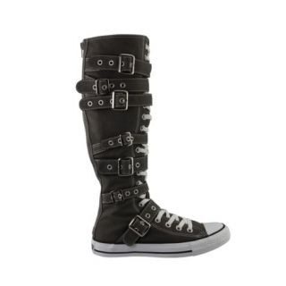 ALL STAR~XX HI~BUCKLE CHUCK~Knee High~CHARCOAL GRAY~Straps~All Sizes