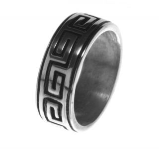 Newly listed Alpaca Silver Ring R4 Greek Key Maze Labyrinth Size 10