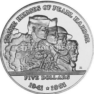 Marshall Islands 5 Dollars, 1991, To the Heroes of Pearl Harbor