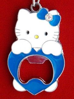 TEAM MASCOT Hello Kitty Key Chain Key Ring Fob BLUE BOTTLE CAP OPENER