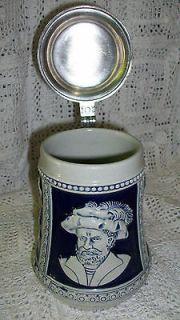 Gerz German Stoneware Beer Stein Colbalt Blue King Henry Pewter Lid