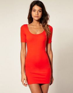 NEW  Womens Scoop Neck Bodycon Fitted Ribbed Party Sleeve Dress