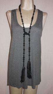 Haute Hippie Racerback Gray Modal Jersey Tunic Top with Black Beaded