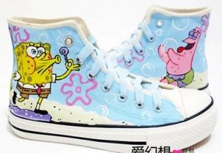 SpongeBob Hand painted Women Girls High top Canvas Sneaker Shoes ZZ16