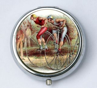 High Wheel Bike Race pill case pillbox holder victorian steampunk