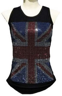 Rockabilly Punk Rock Baby UK UNION JACK Diamante Rhinestone ViP TANK