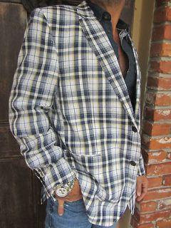 Tommy Hilfiger MENS PLAID JACKET Blazer Sport Coat Navy Blue Wilson