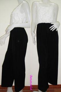 NEW WOMENS BLACK&WHITE LACE JUMPSUIT ROMPER VERSATILE LONG PANTS