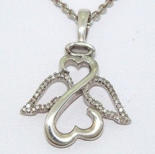 Jane Seymour Sterling Silver 1/15ct Diamond Open Heart Angel Necklace