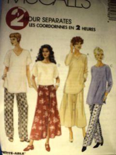 UNCUT McCalls Pattern Misses Tunic Top Pants Skirt 8276