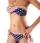 Starts & Stripe Strapless Padded Twisted Tie Side Bikini American Flag