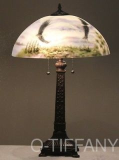 Handel Style Reverse Painted Lamp Soaring Eagles w/ 20 Shade