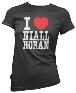 Love Heart Niall Horan Womens Girls Black Cotton Ladies Top T Shirt