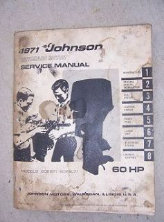 Johnson Outboard Motor Service Manual 60 HP Models 60ES71 60ESL71 Boat