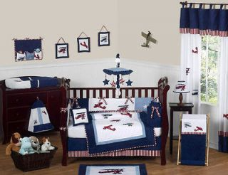 Newly listed SWEET JOJO DESIGNS CHEAP AIRPLANE PLANE CRIB BEDDING SET