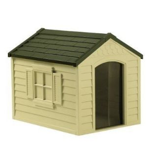 Resin All Weather Large Outdoor Pet Dog House w/ Roof and Foor NEW