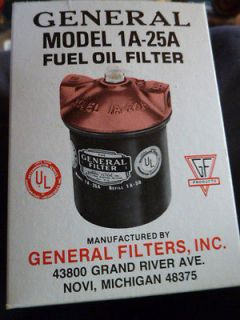 DIESEL FUEL OIL FILTER GENERAL UNIVERSAL CARTRIDGE FURNACE # 1A 25A 3