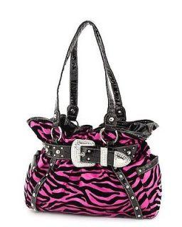 Hot Pink Zebra Animal Print Rhinestone Studded Buckle Belted Tote Hobo