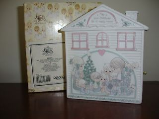 Precious Moments Christmas House Music Box Musical Plaque1992 New with
