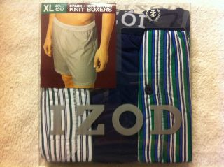 IZOD Knit Cotton Mens Boxers 3 Pack Multi Colored Stripes & Solids