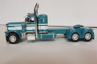 PETE TURQUOISE TEAL + WHITE PETERBILT DAY CAB KENWORTH LONESTAR COE