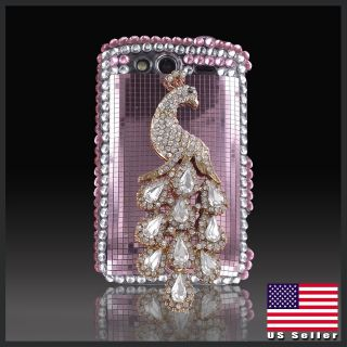 Silver Peacock Pink bling rhinestone case cover HTC Wildfire S 2 G13