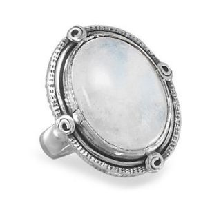 Oval Rainbow Moonstone Ring 925 Sterling Silver Rope Edge Large Stone