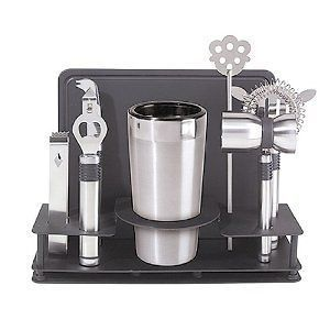 New Oggi Pro Stainless Steel 10 Piece Cocktail Shaker and Bar Tool