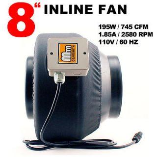 2013 MTN Gearsmith Hydroponics 8 Inline Duct Tube Exhaust Fan 745CFM