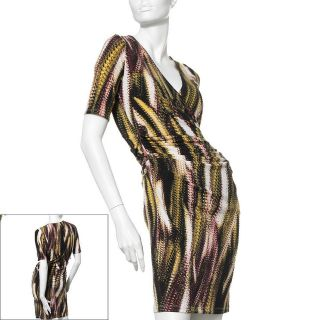 NWT~JENNIFER LOPEZ *SEXY* Faux Wrap Stretchy Ruched Snakeskin Dress