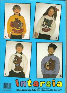 Vintage 4 Knitting Patterns TOM & JERRY Children Adult
