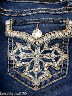 LA Idol Plus Size Bootccut Jeans Crystal Cross Bold Stitching Stretch