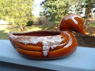 MADE IN USA ~DRIP GLAZE POTTERY DUCK PLANTER ~ BROWN/WHITE #830