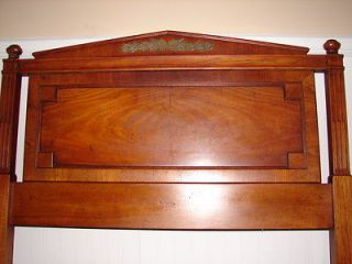 TWIN SIZE HEADBOARD, WALNUT, CARVED ACCENTS w/BED RAILS IN BOX