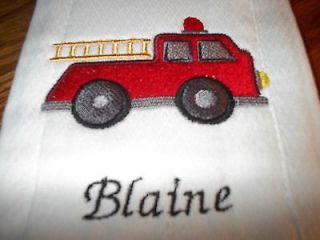 personalized fire truck baby burp cloth diaper