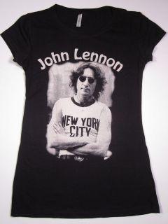 John Lennon NYC T shirt Womens Juniors Tee SzLg Blk New