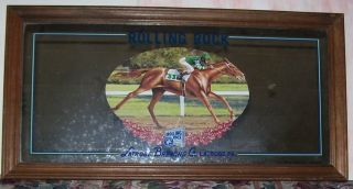 Rolling Rock Horse Racing Scene Beer Mirror Wood Frame Latrobe Brewing