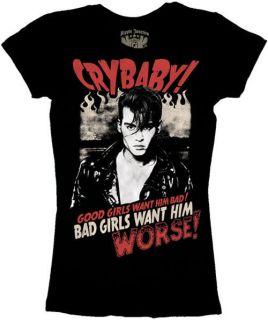 New~Cry Baby~Good Girls Want Him Bad~Junior Shirt~Johnny Depp Movie