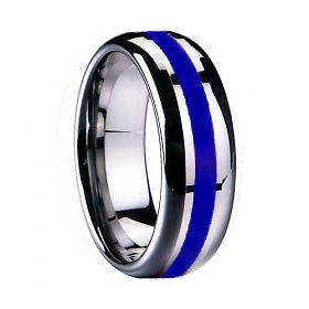 Tungsten Carbide Ring 8MM Men Stunning Blue Inlay Wedding Ring Band