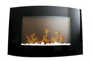 NEW Fuel Gel Curved Wall Mounted Fireplace Artificial Logs Stainless