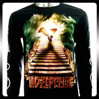 Led Zeppelin Folk Rock Punk LS Long Sleeve T shirt Sz L Biker Le30