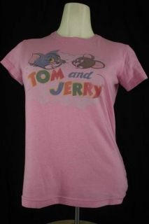 junk food juniors large tom jerry cartoon pink ss t shirt