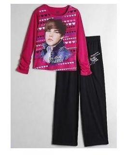 Justin BIEBER Cute HAIRCUT Fushia Pink Shirt Pants PAJAMAS Pjs 10/12