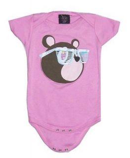 KANYE WEST BEAR W/ GLASSES PINK BABY INFANT ONESIE JUMPER L 12 18